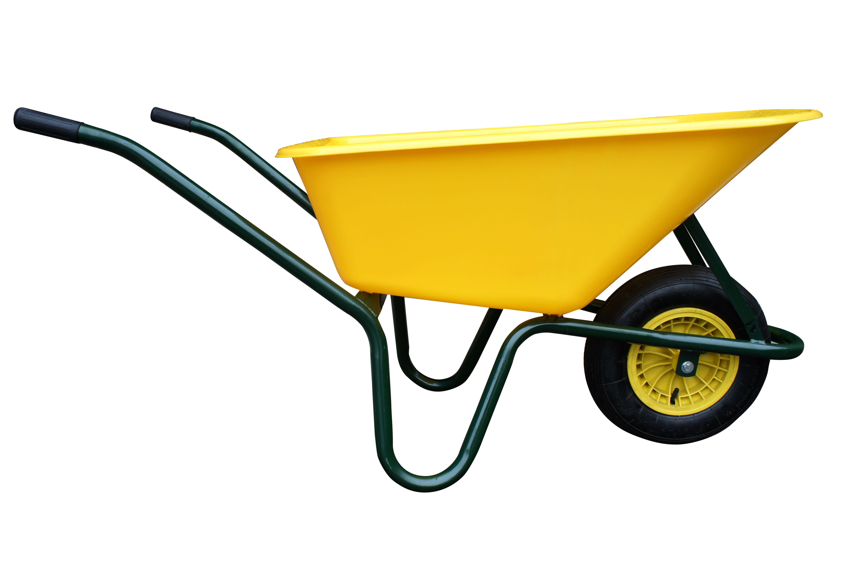 kolečko LIVEX 100 l, kolo nafukovací, rozložené - plastová korba žlutá, nosnost 100 kg