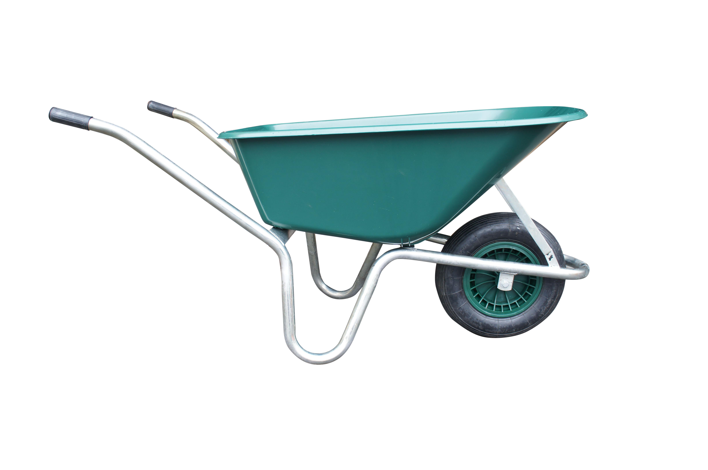 Kolečko LIVEX 100 l, pzn rám, kolo nafukovací, rozložené – plastová korba zelená, nosnost 100 kg