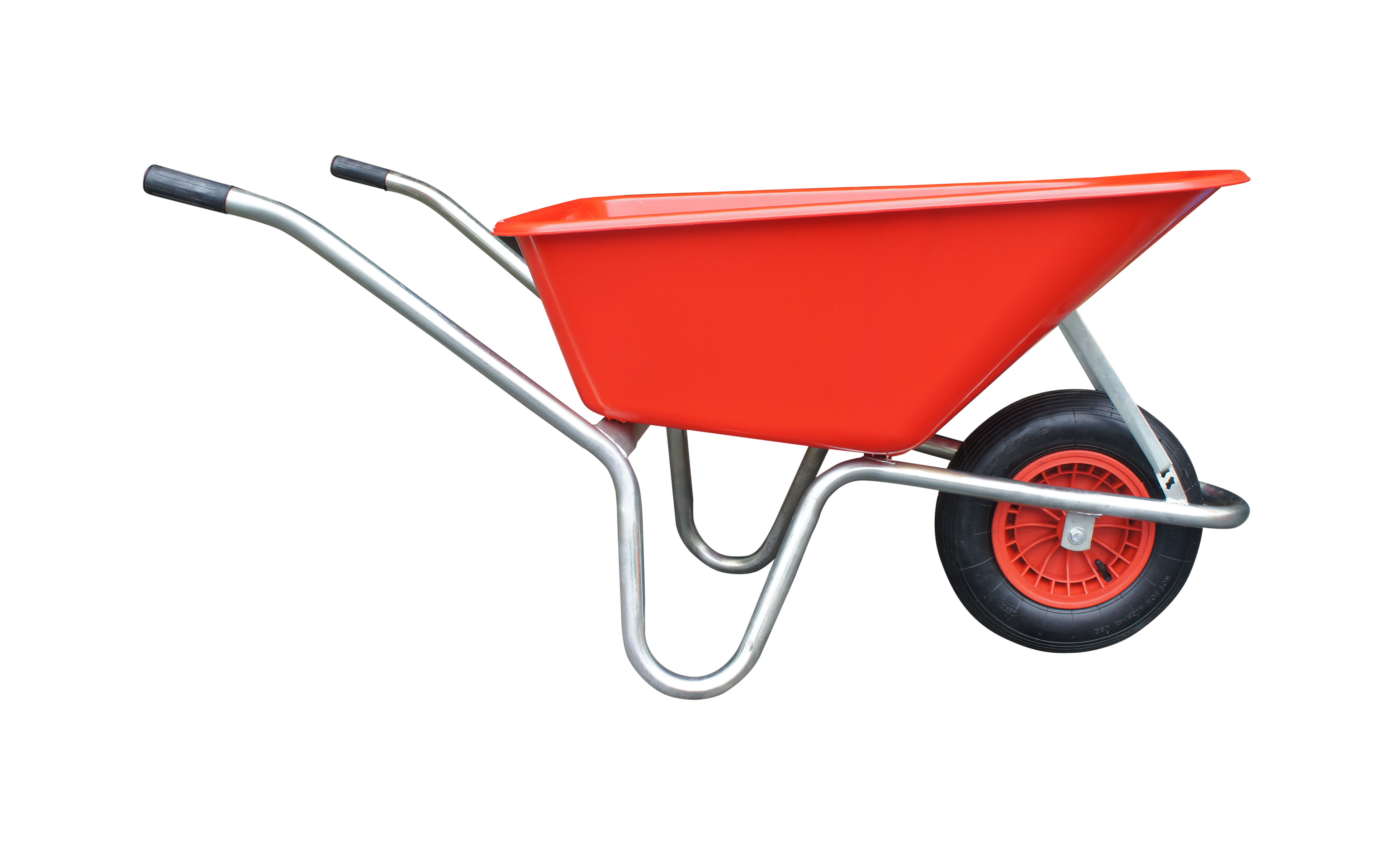 Kolečko LIVEX 100 l, pzn rám, kolo nafukovací, rozložené – plastová korba červená, nosnost 100 kg