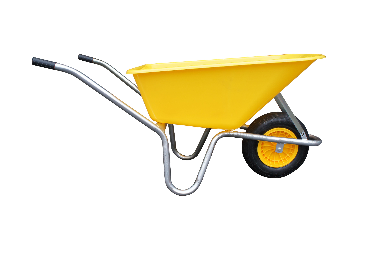 Kolečko LIVEX 100 l, pzn rám, kolo nafukovací, rozložené – plastová korba žlutá, nosnost 100 kg