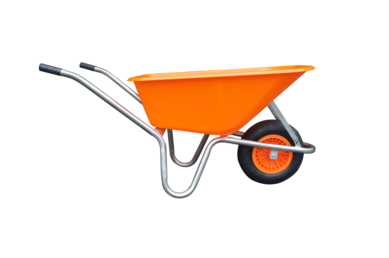 Kolečko LIVEX 100 l, pzn rám, kolo nafukovací, rozložené – plastová korba oranžová, nosnost 100 kg