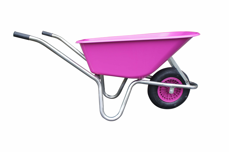 Kolečko LIVEX 100 l, pzn rám, kolo nafukovací, rozložené – plastová korba fialová, nosnost 100 kg