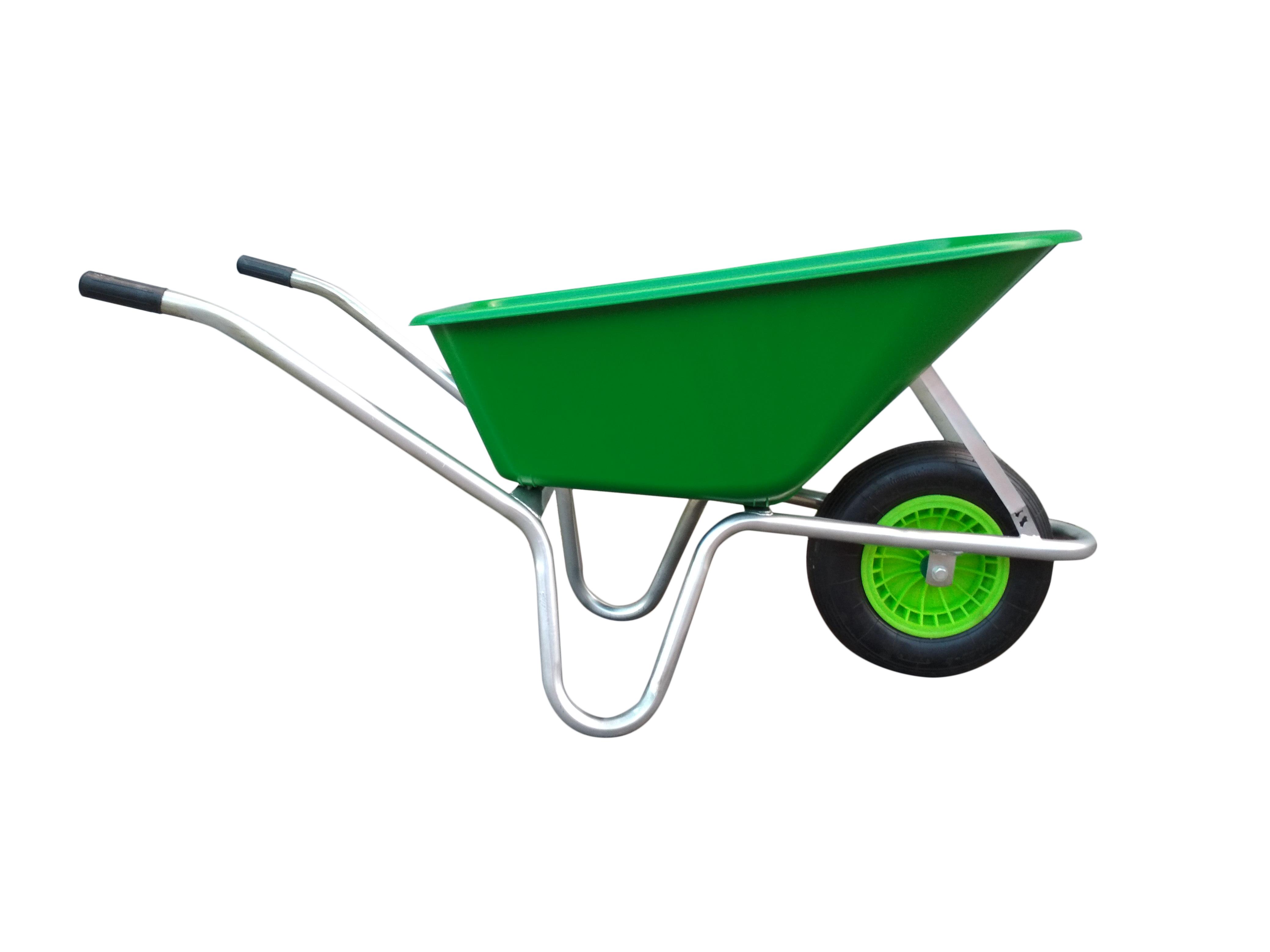 Kolečko LIVEX 100 l, pzn rám, kolo nafukovací, rozložené – plastová korba světle zelená, nosnost 100 kg