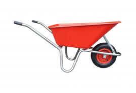 koločko LIVEX 100 l, pzn rám, kolo nafukovací, rozložené – plastová korba červená, nosnost 100 kg