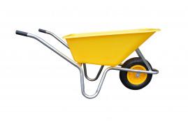 koločko LIVEX 100 l, pzn rám, kolo nafukovací, rozložené – plastová korba žlutá, nosnost 100 kg